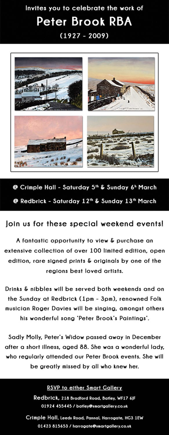 PETER BROOK TRIBUTE EXHIBITION | @ CRIMPLE HALL 5TH & 6TH MARCH | @ REDBRICK 12TH & 13TH MARCH